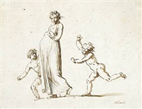 a pregnant mother with her children playing by nicolaj-abraham abilgaard