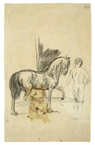 pferd und stehender jüngling rückenakt by hans von marées