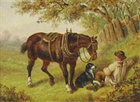 man resting with his horse and dog by edward benjamin herberte