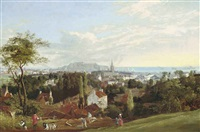 view of st. helier, jersey, with fort regent and elizabeth castle in st. aubin's bay beyond by philip hutchins rogers