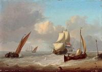 voiliers hollandais et barques près de la jetée by jan van os
