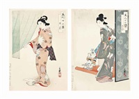 ladies in different months of the year, each from the series bijin junishi (twelve kinds of beauties) (7 works) by migita toshihide