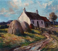 cottage and haystacks in a landscape by gregoran smith