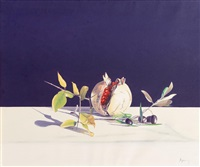 still life, pomegranate and olives by virgilio raposo