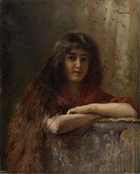 portrait of a young girl by konstantin egorovich makovsky