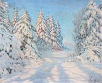 sapins sous la neige by piotr livoff ivanovitch