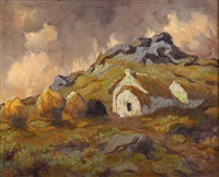 connemara cottage with haystacks & peat by lilian lucy davidson