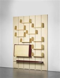 modular bookcase with writing desk by osvaldo borsani