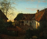 a thatched farm at sunrise by hans christian fischer