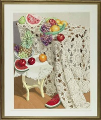 watermelon, fruit and lace by sondra freckelton