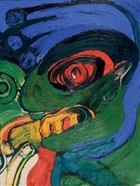 tète à la main bleu by bengt lindström