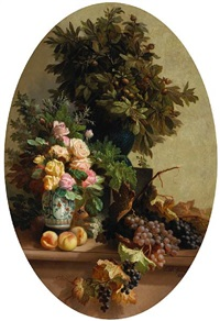 a still life with fruit and flowers by edmond de koninck