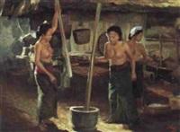 three women, pounding the padi by hasim
