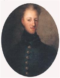 porträtt av karl xii klädd i blå uniformsrock by johann david swartz