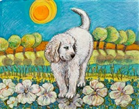 the dog said, woof (illustration for hello, day !) by anita lobel