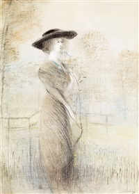 woman with a hat by lajos gulácsy