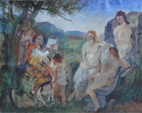 artist, nude models, and others in landscape by ludvig jacobsen