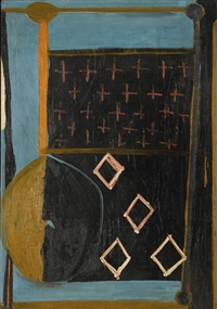 in blue with crosses by robert motherwell