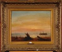 le retour des pêcheurs au coucher du soleil by jacques van gingelen