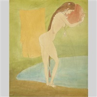 bathing day (kashmiri girl removing her dress to take a bath in pond of water) by abdur rahman chughtai