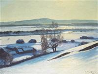 vinterlandskap med gårdar och frusen älv by stan gustaf herman ankarcrona