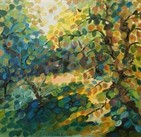 autumn leaves in afternoon sun by celia percival