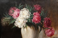 still life of pink and white dahlias in a vase by frederick grant young
