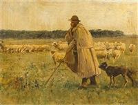 shepherd and dog by louis aimé japy