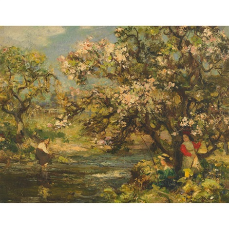 girls fishing at springtime by william stewart macgeorge
