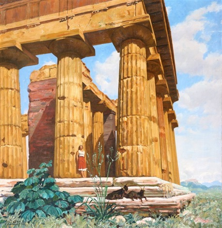 femme et ruines à l antique by joseph marius avy