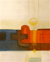 composition abstraite bleue et rouge sur fond blanc by sigismond kolos-vary