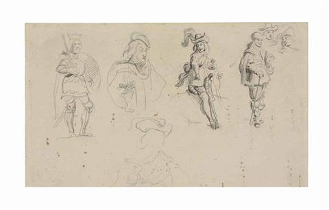 studies of cavaliers and a king holding a sword by eugène delacroix
