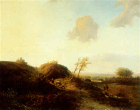 an extensive view at dusk by franciscus antonius de haan