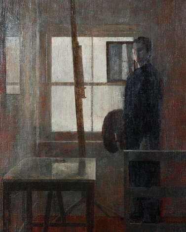 studio window with self portrait by nicolas granger taylor