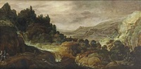 a mountainous river landscape with herdsmen and travellers on a path near a waterfall by joos de momper the younger