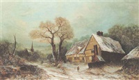 winter landscape with cottage by a. newby