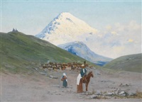 caravanserai at the foot of mount kazbek by richard karlovich zommer