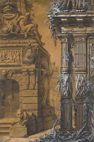 the entrance to a sepulchre with a columned building to the right two figures in a courtyard in the background by gilles marie oppenort