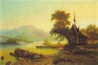 gebirgsee mit fischerboot und kapelle by arnold forstmann