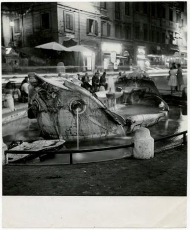 fontaine la barcaccia sur la place despagne rome by jacques henri lartigue