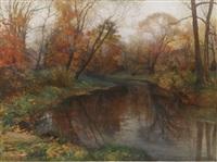 autumn lake by mikhail rundaltsov