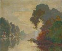 bord de lac by léon esperance broquet