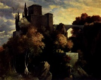 a castle in a wooded landscape by pietro isella