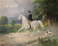 eleganter reiter, begleitet von seinem hund by hans (johann) haag