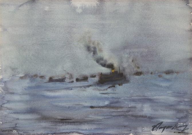 sea peysage by burhan cahit dogançay