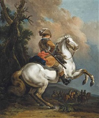 a soldier in armour, on a rearing horse in a landscape, a skirmish beyond by francesco giuseppe casanova