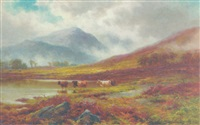 highland cattle watering in a mountainous landscape by coutts lindsay