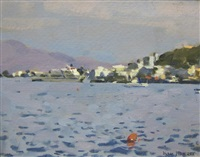 ferry off a port, said to be the south of france by ken howard