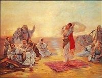 bedouins enjoying a young girl dancing by otto pilny
