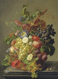 summer fruit and flowers in a basket by elisabeth worms jacobber
